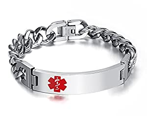 "Men's Medical Alert ID Bracelet Tag Stainless Steel Link Chain Wrist (Free Engraving),8.3 ""-8.5 """