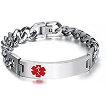 VNOX Men's Medical Alert ID Bracelet Tag Stainless Steel Link Chain Wrist (Free Engraving),8.3 inches-8.5 inches