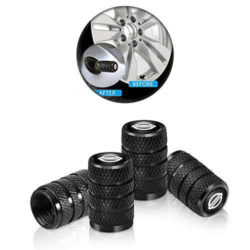 4 Pcs Metal Car Wheel Tire Valve Stem Caps for Nissan Versa Sentra Altima Rogue Murano Pathfinder Frontier Titan Logo Styling Black Decoration Accessories