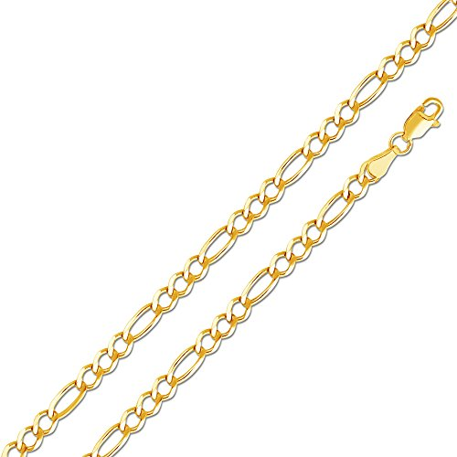Sonia Jewels 14k Yellow Gold Solid 3.5mm Figaro 3+1 Open Bracelet 7.5""