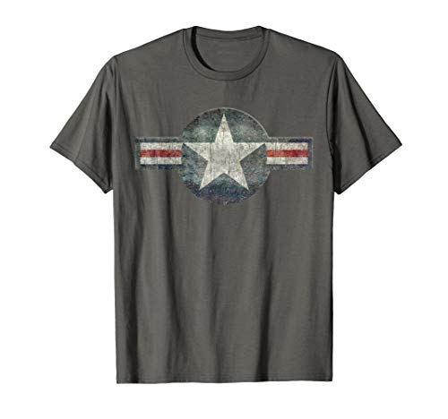 Stylized USAF Roundel Symbol T-Shirt, with heavy distressing ()