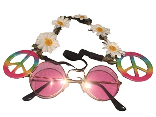 Groovy 60's 70's Hippie Glasses Headband Earrings Costume