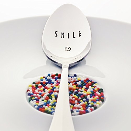 Smile - (Option to Personalize with a Name) - Stainless Steel Stamped Spoon | Stamped Silverware | Unique Galentine Sorority Gifts for Friends | Mother's Day Gift for Mom