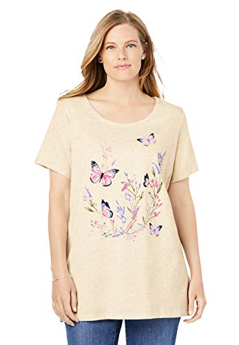 Woman Within Women's Plus Size Short-Sleeve Graphic Tee Shirt