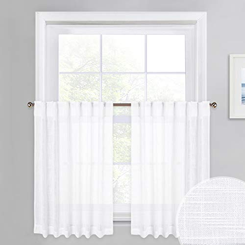 - PONY DANCE White Sheer Tier - Linen Look Semi-Transparent Voile Valance Casual Rod Pocket & Back Tab Short Curtains Drapes for Small Windows Cafe, 52