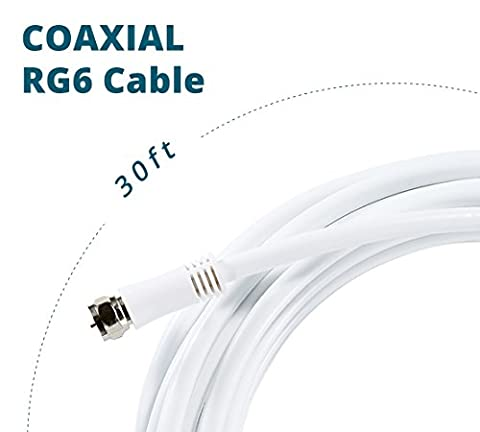 ANTOP Digital Coaxial RG6 Audio Video Cables (30ft) with F-Male Connector Pin Perfect for Antenna, Cable and Satellite TV Connection – Tri-Shielded Heavy Duty Grade in White (Coaxial Audio Video Cable)