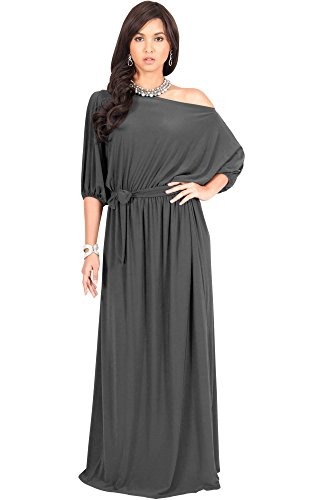 Cocktail Dresses Plus Sized (KOH KOH Women Long Sexy One Off Shoulder Flowy Casual 3/4 Short Sleeve Cocktail Wedding Party Guest Maternity Gown Gowns Maxi Dress Dresses, Dark Gray XL 14-16 (2))