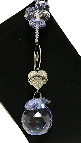 Daughter Gift - Lavender Suncatcher With Dangling Crystal Heart With DAUGHTER in Center - Birthday, Christmas, Get Well, Mother Sun (Christmas Suncatcher)
