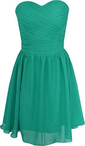OkayBridal Women's Chiffon Knee Length Formal Prom Evening Dresses (16W, Dark Green)