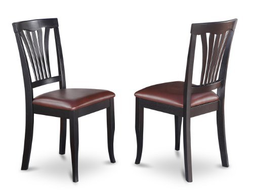 East West Furniture AVC-BLK-LC Chair Set for Dining Room, Black Finish, Set of 2 - Brown Cherry Dining Chairs