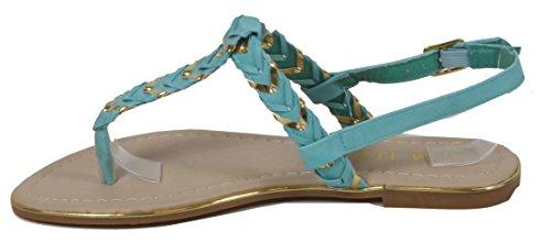 Sonnill - Sandale geflochtene Gräten Muster Zehentrenner goldene Verzierung LederOptik Damen Schuhe 36 37 38 39 40 41 geflochten Gräten Türkis