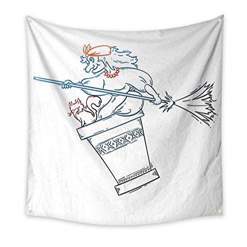 Anniutwo Tapestry Art Baba Yaga Flying in a Mortar with cat and Broomstick in The Night Russian Granny Witch Halloween Cartoon Illustration Living Room Bedroom Dorm Decor 32W x 32L Inch]()