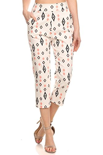 Private Label Women's Stretch Millennium Slim Style Crop Pants. Made in USA (S, White/Blue Pink Small Dia (Banded Slim Pants)