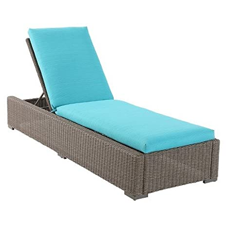 Amazon Com Heatherstone Wicker Patio Chaise Lounge Turquoise