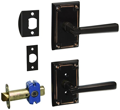[Craftsman Style Lever Door Set With Rectangular Rosettes Right Hand Passage In Oil Rubbed Bronze. Traditional Door Knobs.] (Emtek Rectangular Rosette)