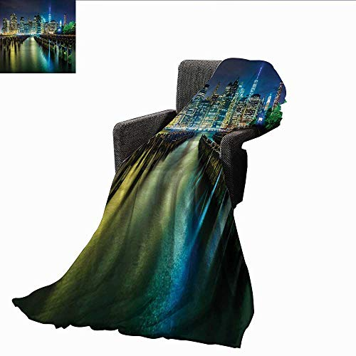 PearlRolan Weighted Blanket,New York,Pier Pilings and Manhattan Skyline at Night Downtown Urban East River,Dark Blue Green Yellow,Indoor/Outdoor, Comfortable for All Seasons -