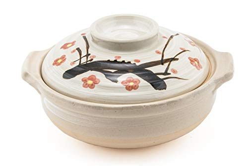 Japanese Donabe Ceramic Hot Pot Casserole 72 oz Earthenware Clay Pot Serves 3-4 People Made In Japan by Hinomaru Collection
