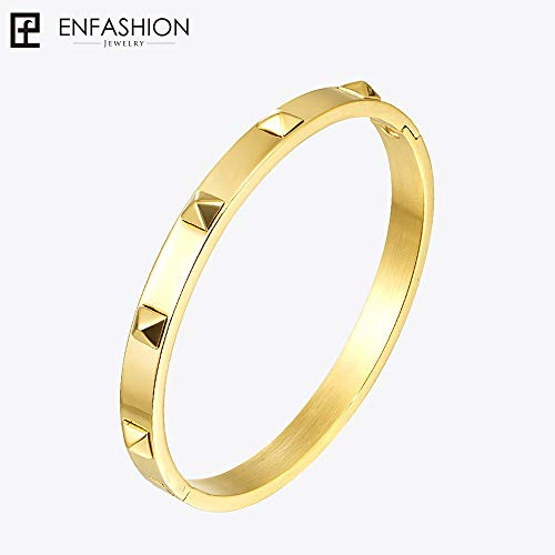 Gold Color Stainless Steel Pyramid Spikes Cuff Bracelet | for Women