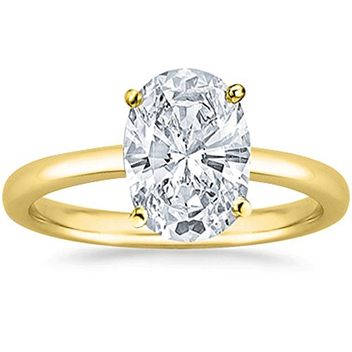 1/4 Carat 14K Yellow Gold Oval Cut Solitaire Diamond Engagement Ring (0.25 Carat H-I Color SI2-I1 Clarity) 1/4 Ct Oval Diamond Ring