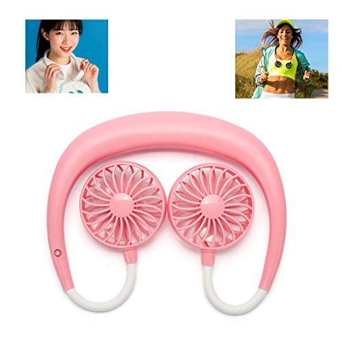 - RENYAFEI Mini Sports Neck Fan Hanging Neck Fan Three-Speed Adjustment Double Wind Head Hands-Free Fan Necklace 360° Rotation with USB Cable Charged,Pink,2000mAh