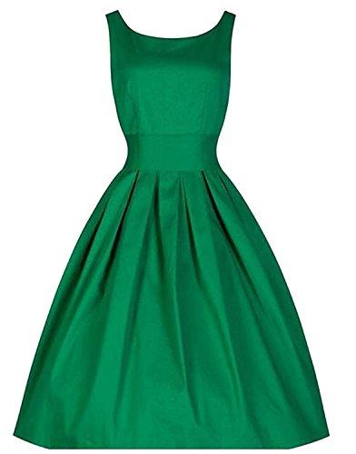 YUMiiiooo Nice Womens Vingtage Spring 50s Hepburn Slim Fit Pinup Dress Green L ()