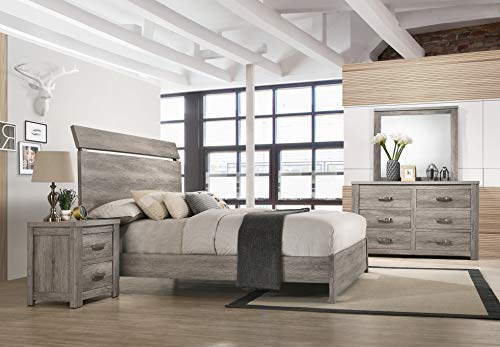 Bedroom Roundhill Furniture Floren Contemporary Weathered Gray Wood Bedroom Set, Queen Panel Bed, Dresser, Mirror, Two… modern bedroom furniture sets