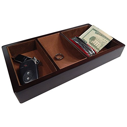 Profile Gifts Woltar Wooden Valet Tray - Brown - 3 Compartment Leatherette Organizer Box for Wallets, Coins, Keys, and Jewelry
