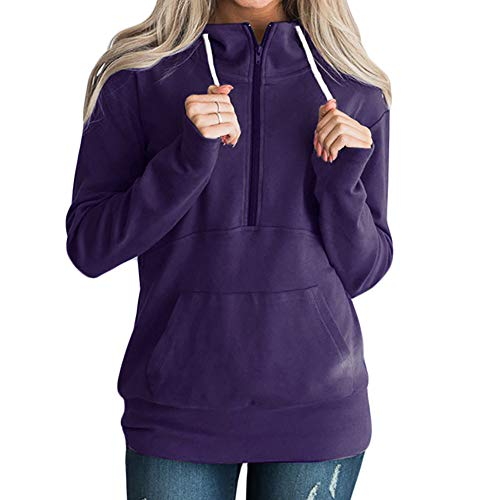 iYBUIA Autumn Women Simple Solid Zipper Long Sleeve Sweatshirt Jumper Pullover Blouse(Purple,S) -