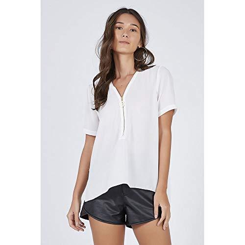 T-Shirt Decote Zíper Off White - 42