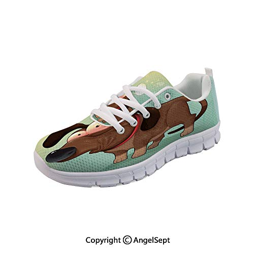 (SfeatruAngel Lightweight Casual in Love Werner Dog Humor Breathable Mesh Shoes)