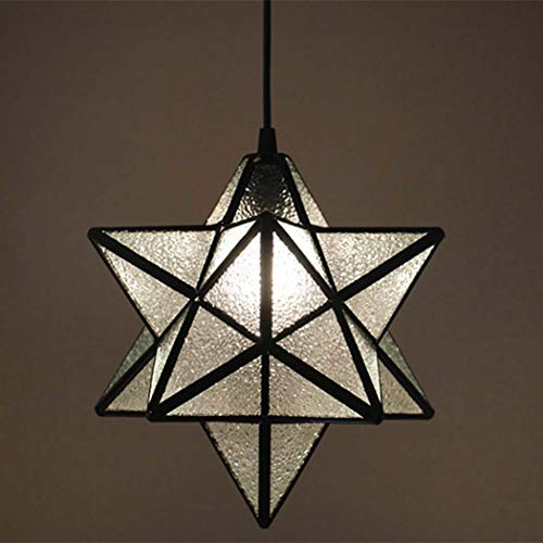 JUNJUNA Tiffany Stained Glass Chandelier, Charming Colorful Five-Pointed Star Style, lamp Holder + lampshade, Diamond Transparent Color,Diamondtransparent ()