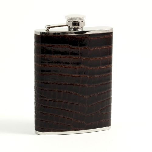 """Bey-Berk FS326 6 oz.""""Croco"""" Leather Flask with. One Size Brown"""