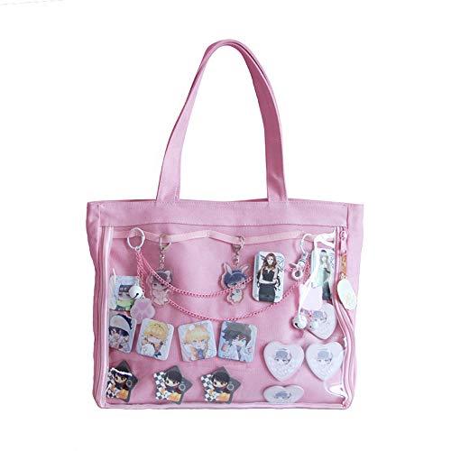 Ita Bag Ita Tote Bag Shoulder Bag Purse Anime School Bag DIY, Cosplay,Comic Con (pink)