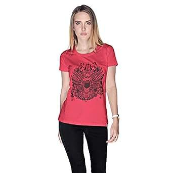Creo Open Skull Bikers T-Shirt For Women - S, Pink