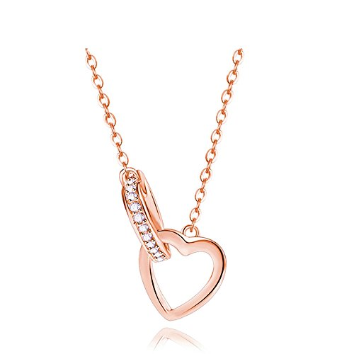 LOCHING Fashion Rose Gold Necklace Hollow Double Heart Interlocking Inlaid Pendant Zircon 925 Silver Necklace