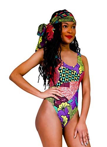 Kente Dashiki Tribal Printed Women One Piece Swimsuit Set with Scarf African Print High Neck Backless Ankara Swimwear (Medium