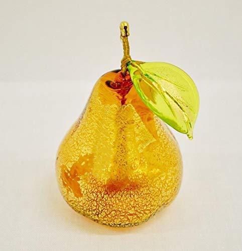 (Murano Glass Blown Pear Amber)