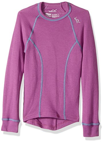 Watson's Girls Double Layer Warm Long Sleeve Top, Base Layer Thermal Top for Girls, Breathable Fabric, Purple - Medium Size