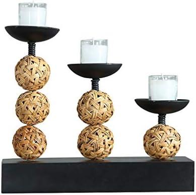 キャンドル・キャンドルスタンド ローソク足の高品質3つのウッドワックスカップオーナメントロマンティックキャンドルライトディナーの小道具表コーヒーテーブルデスクトップ照明ギフト (Color : Black, Size : 31*10*25cm)