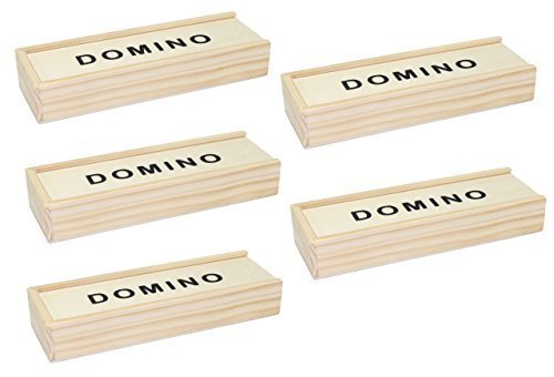 Dominoes Gift Box (Set of 5~ Double 6 Six Dominoes Domino Wooden Box 28 Tiles Portable Family Game Great Gift US Seller)