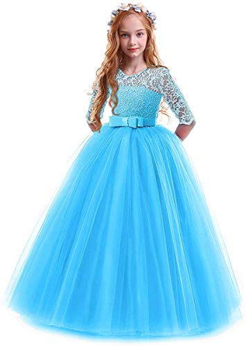 Toddler Girl's Embroidery Tulle Lace Maxi Flower Girl Wedding Bridesmaid Dress 3/4 Sleeve Long A Line Pageant Formal Prom Dance Evening Gowns Casual Holiday Party Dress Blue 5-6 (Pageant Dress)