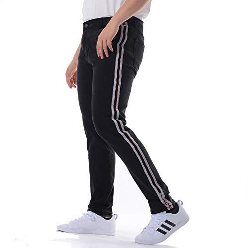 - BAILUNDAISI Men's Striped Skinny Slim Fit Stretch Jeans (803-black, 30)