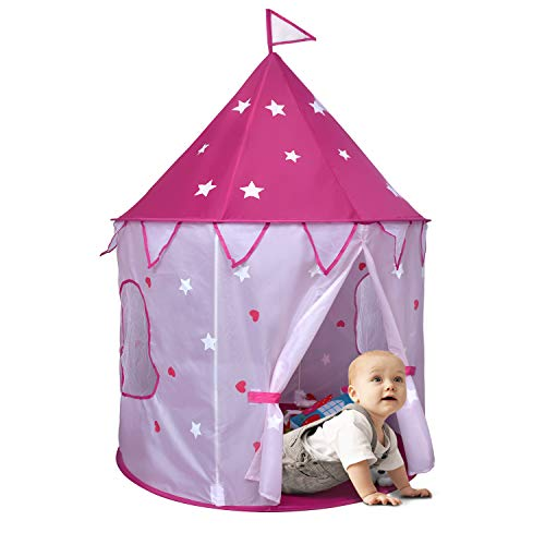 Rettebovon Princess Castle Play Tent with Glow in The Dark Stars Classic Foldable Pop Up Pink Play Tent/House Toy for Indoor Kids Tent & Outdoor Children Tent