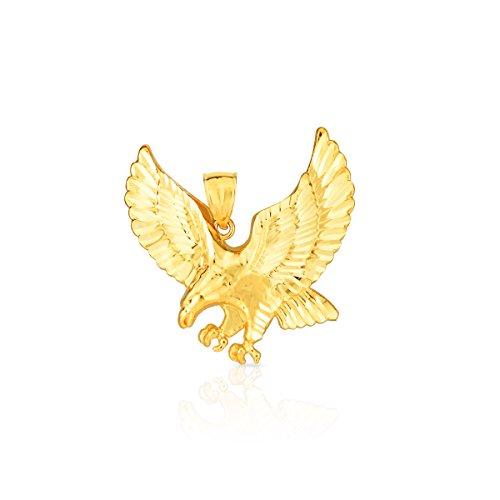 10k Yellow Gold Landing Eagle Pendant (large) (Large Gold Eagle)