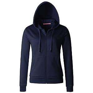 Regna X Womens Full Zip EcoSmart Fleece Hoodie Jacket Navy XLarge