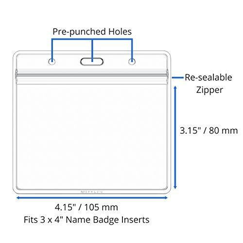 Horizontal 3x4 Large Nametag Name Badge Holders 50 Pack pre punched sealable