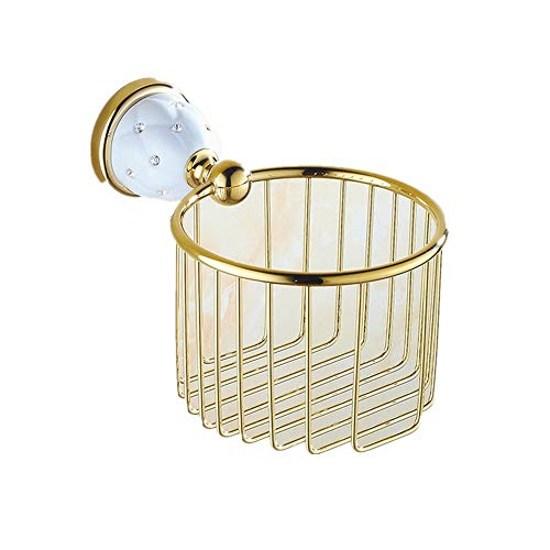 AUSWIND European Gold Toilet Paper Holder Brass Star Decorate Towel Basket Wall Mount Bathroom Accessories Set