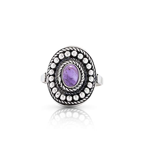 - Amethyst Vintage Gipsy Etnic Oval Ring 925 Sterling Silver Tribal Boho Chic Jewelry (8)