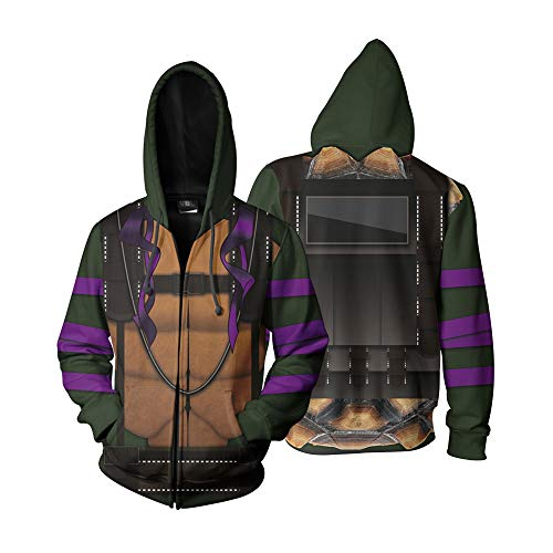 TeenageMutantNinjaTurtles Donatello Jacket Costume Coat Zip Up Hoodie (XXXL) Brwon -