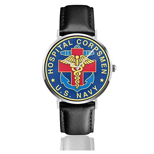 YRAI US Navy Hospital Corpsman Black Leather Strap Watches Casual Fashion Wrist Watches